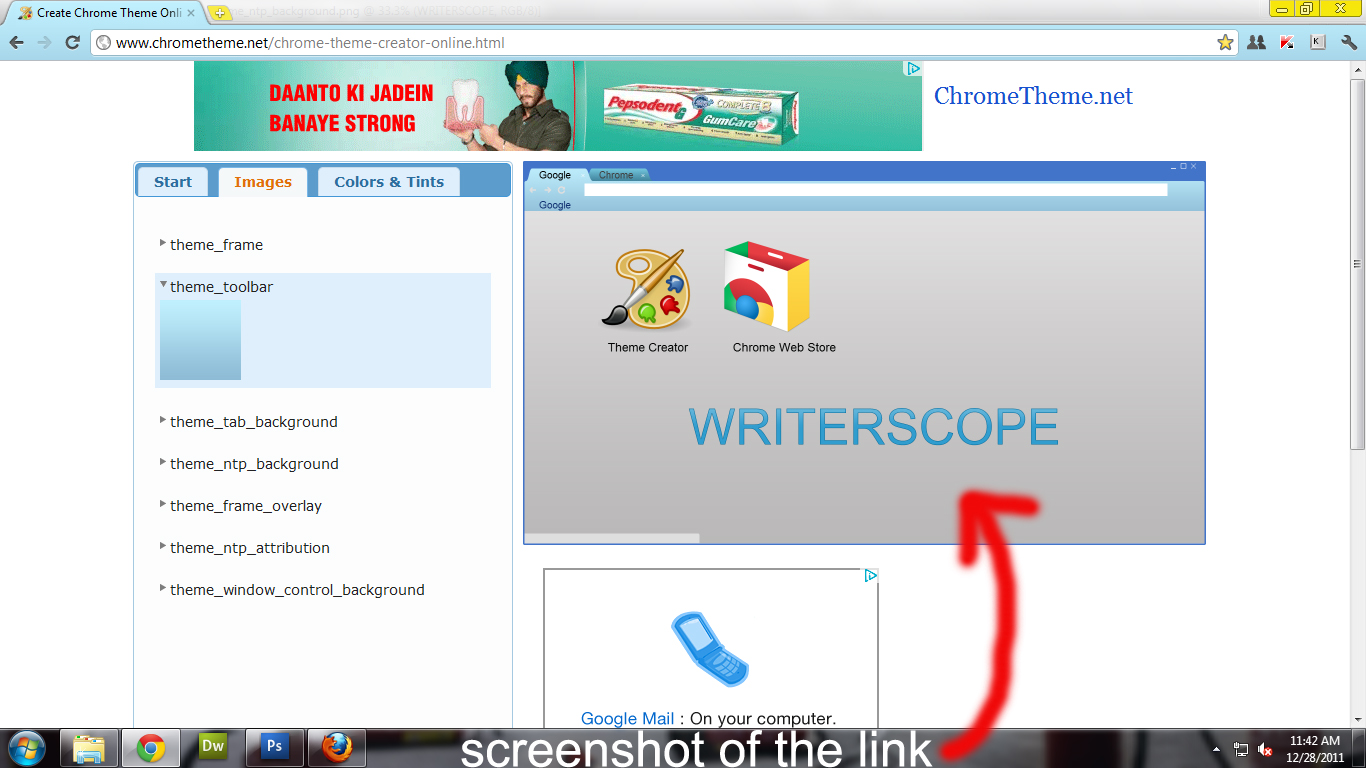 create your own google chrome theme writerscope