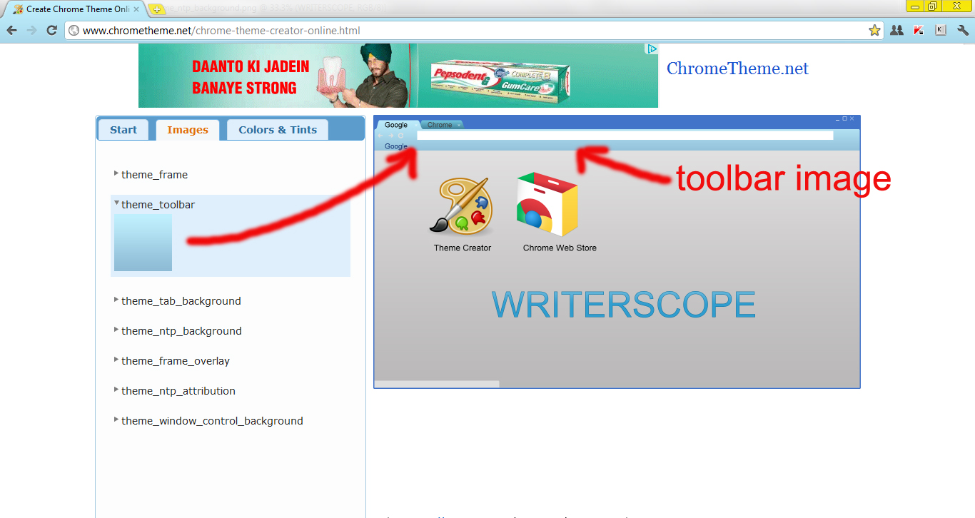 Create Your Own Google Chrome theme | writerscope